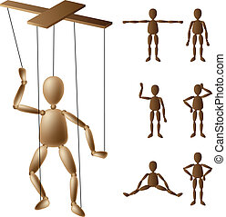 Marionette wooden puppet set in different positions