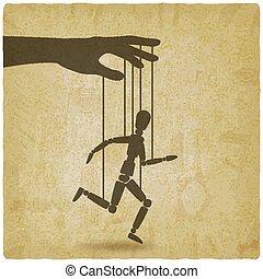 marionette, rennender , mann, weinlese, hintergrund, seile, ...