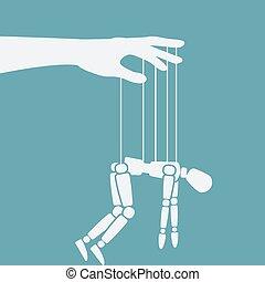 marionette, ropes., syndrom, begriff, ermüdung, marionette, ...