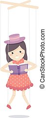 Marionette Story Telling Illustration - Colorful...