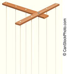 Marionette Strings Wooden Control Bar Without Puppet -...