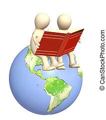 marionetten, boekjes , lezende , 3d