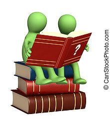 marionetten, lezende , woordenboek, 3d