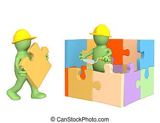 marionetten, woning, 3d, gebouw