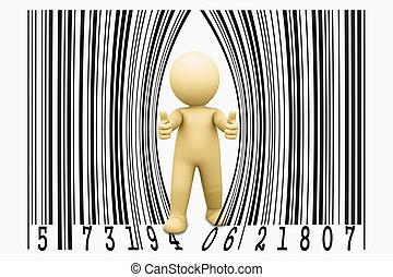 marionnette, concept, code barres, ouvre