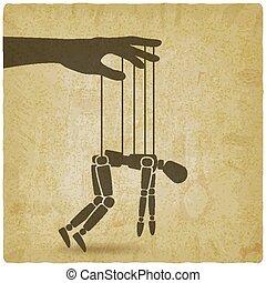 marionnette, syndrome, concept, vendange, fatigue, arrière-...