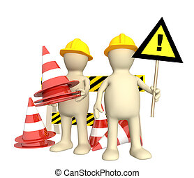marionnettes, cônes, urgence, 3d
