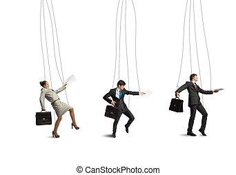 marionnettes, hommes affaires