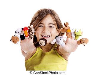 marionnettes, jouer, doigt