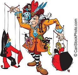 marionnettiste, et, marionnettes