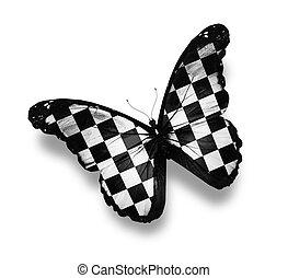 mariposa, a cuadros, aislado, bandera