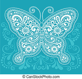 mariposa, alheña, /, mehndi, cachemira