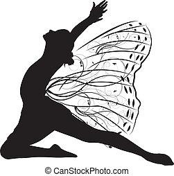 mariposa, bailarín