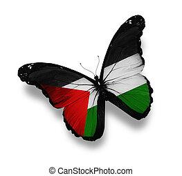 mariposa, bandera, blanco, aislado, palestino