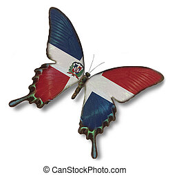 mariposa, bandera, república, dominicano