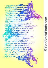 mariposa, carta, fondo, ilustración