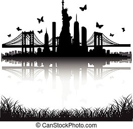 mariposa, ciudad, libertad, contorno, vector, york, estatua,...