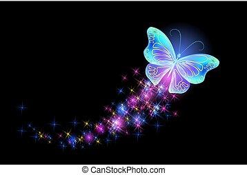 mariposa, con, encendido, fuego artificial