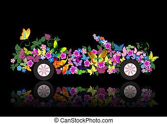 mariposa, convertible, flores