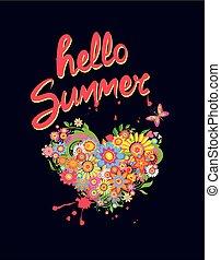 mariposa, corazón, camisa, colorido, letras, aislado, forma, verano, t, plano de fondo, impresión, negro, flores, hola