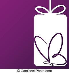 mariposa, corte, format., vector, etiqueta, tarjeta, afuera