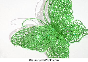 mariposa, destello, verde