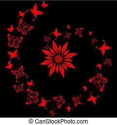 mariposa, diseño, azulejo, flor, laca