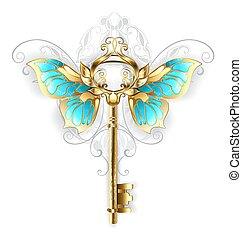 mariposa, dorado, alas, llave