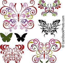 mariposa, elementos, conjunto