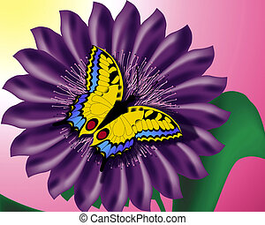 mariposa, en, flor