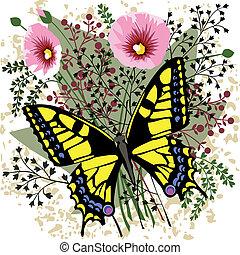 mariposa, en, flores del resorte