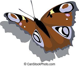 mariposa, en, papel