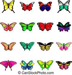 mariposa, estilo, iconos, conjunto, colección, caricatura
