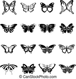 mariposa, estilo, iconos, conjunto, colección, simple