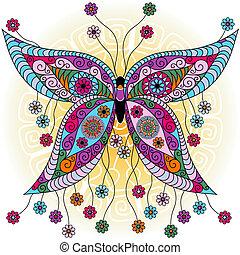mariposa, fantasía, primavera, vendimia
