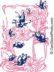 mariposa, flor, ilustración, escritura