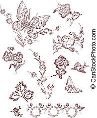 mariposa, flor, pájaro, elementos