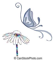 mariposa, flor, petterned, vector