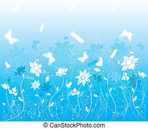 mariposa, flor, plano de fondo