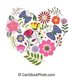 mariposa, flor, plano de fondo, primavera, colorido