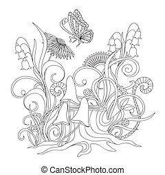 mariposa, flores, tocón, raíces