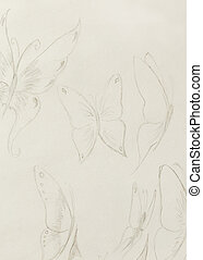 mariposa, fondo., papel, viejo, dibujo