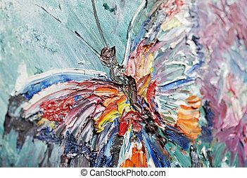 mariposa, fragmento, aceite, primer plano, pintura