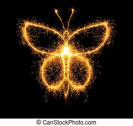 mariposa, fuegos, bengala