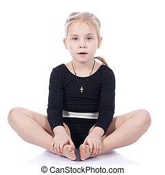 mariposa, gimnasta, niña, postura, sentado