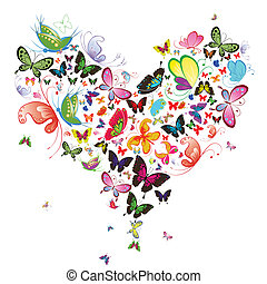 mariposa, illustration., corazón, valentine, elemento del ...
