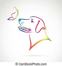 mariposa, imagen, perro, vector, plano de fondo, blanco