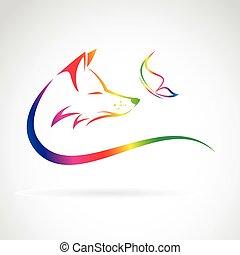 mariposa, imagen, zorro, vector, plano de fondo, blanco