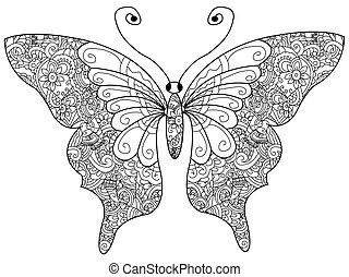 mariposa, libro colorear, vector, para, adultos