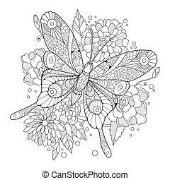 mariposa, libro, colorido, adultos, vector